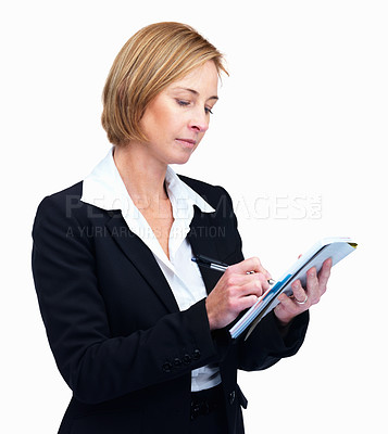 Buy stock photo Portrait of confident mature female taking notes isolated on white background