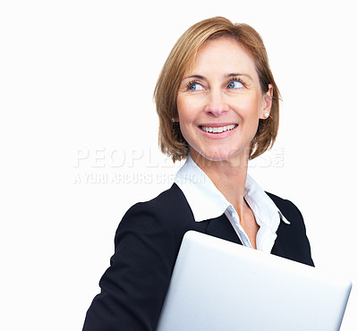 Buy stock photo Portrait of happy mature businesswoman with laptop in hand while looking away - Copyspace