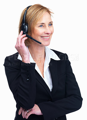 Buy stock photo Portrait of mature customer service operator listening conversation on headset isolated over white background