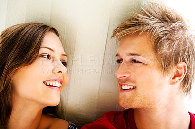 Buy stock photo Fashion Shot of a young man hanging out with his girlfriend