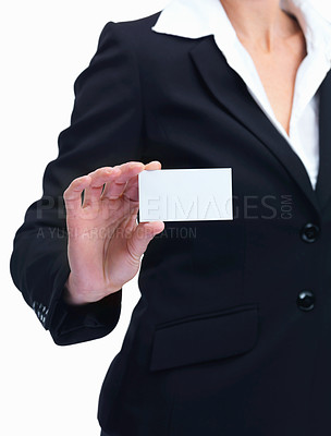 Buy stock photo Portrait of woman showing a business card isolated over white background