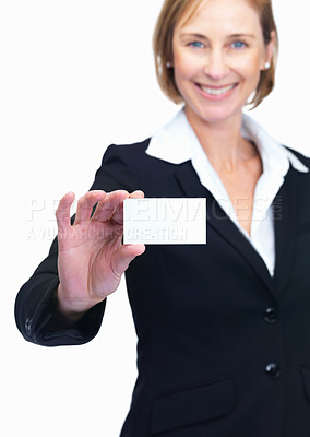 Buy stock photo Portrait of pretty mature business woman displaying blank card over white background