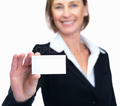 Buy stock photo Portrait of happy middle aged businesswoman showing business card isolated over white background