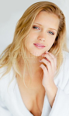 Buy stock photo Portrait of a fresh beautiful young woman in bathrobe