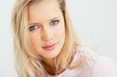 Buy stock photo Closeup portrait of a beautiful blond with blue eyes