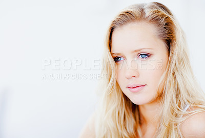 Buy stock photo Closeup of a young female looking at copyspace
