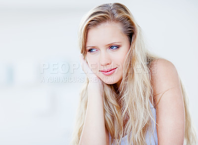 Buy stock photo Portrait of a pretty thoughtful blond woman looking at copyspace