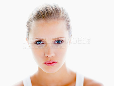 Buy stock photo Portrait of a beautiful young woman isolated on white