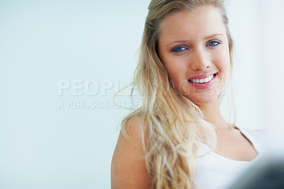 Buy stock photo Portrait of a smiling pretty blond woman with copyspace