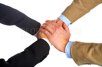 Buy stock photo Hands on top of each other. Symbolic picture.