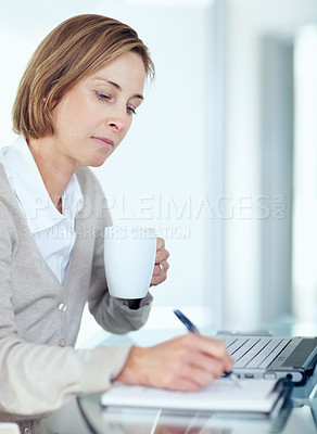 Buy stock photo Porrait of lovely mature business woman making a note while at work