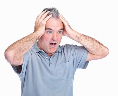 Buy stock photo Portrait of a mature man with a shocking expression isolated on white background