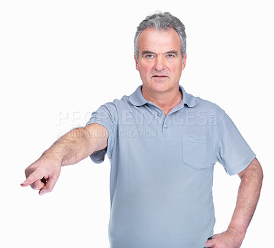 Buy stock photo A bossy, angry looking middle aged man pointing his finger at you isolated on white