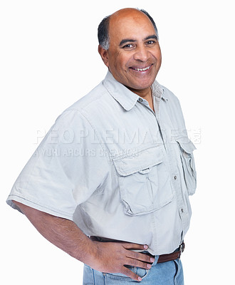 Buy stock photo Portrait of a mature man smiling confidently over white