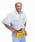 Portrait of a happy confident handy man isolated on white