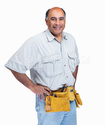 Buy stock photo Portrait of a happy and confident mature handy man isolated on white
