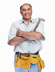 Middle aged handyman wearing a tool belt with hammer in hand
