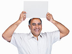 Smiling middle aged man holding an empty billboard over head