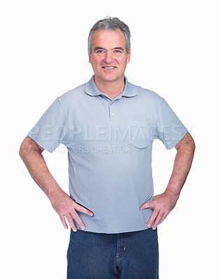 Buy stock photo Portrait of a happy senior man standing confidently isolated on white