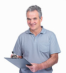 Happy elderly man with a notepad making notes on white