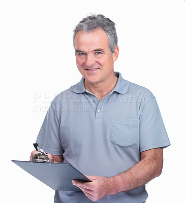 Buy stock photo Smiling senior Caucasian inspector making notes on a notepad on white