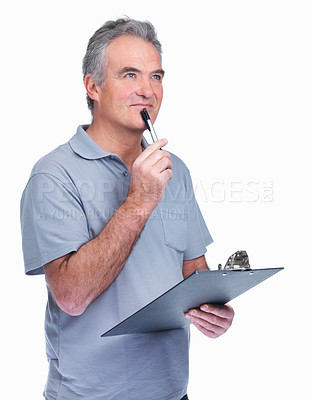 Buy stock photo Portrait of a happy thoughtful senior man using a notepad isolated on white
