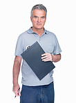 Confident  man with notepad against white background