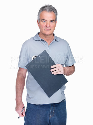 Buy stock photo Portrait of a confident senior man holding notepad against white background