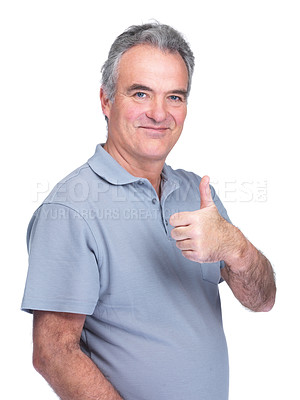 Buy stock photo Portrait of a senior man showing a thumbs up sign isolated on white background