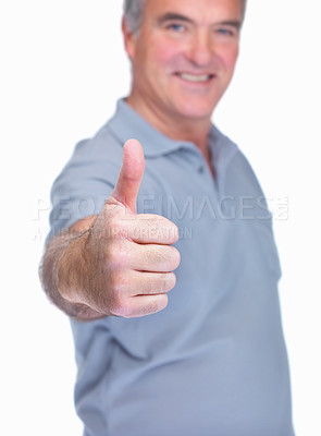Buy stock photo Gesture of success - Senior man against white background