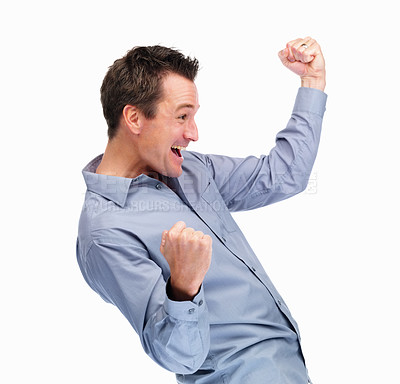 Buy stock photo Portrait of an excited mature man enjoying success against white background
