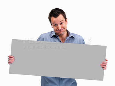 Buy stock photo Mature man holding blank board ready for text on white background