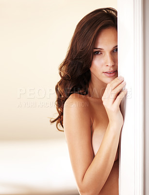 Buy stock photo Portrait of an attractive nude woman