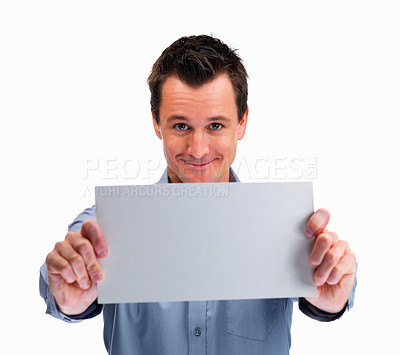 Buy stock photo Happy mature man holding blank card against white background