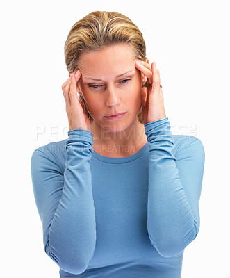 Buy stock photo Stress - Frustrated mature woman holding her head on white background