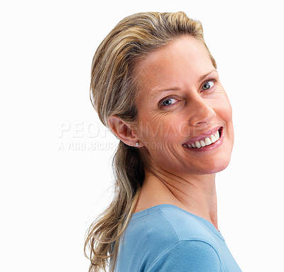Buy stock photo Pretty mature woman looking at you on white background