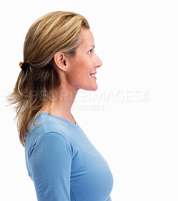 Buy stock photo Side view of a mature woman looking at copyspace against white background