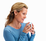 Cute mature woman holding a cup of coffee on white
