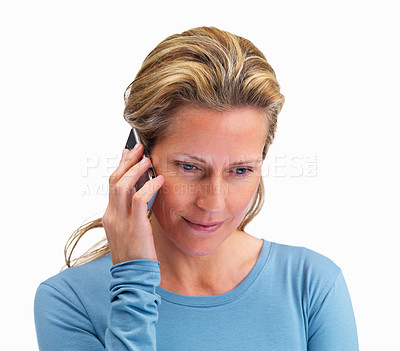 Buy stock photo Beautiful middle aged woman using a cellphone on white background