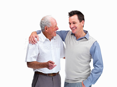 Buy stock photo Portrait of a happy man with his father looking at eachother against white background