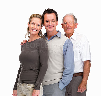 Buy stock photo Portrait of a mature couple standing with a senior man in line against white background
