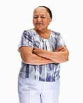 Old woman smiling against white background