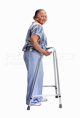 Buy stock photo Full length portrait of an old woman with a walker against white background