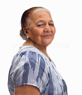 Buy stock photo Portrait of a senior woman looking at you isolated on white background
