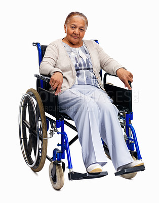 Buy stock photo Happy senior woman sitting isolated on a wheelchair against white background