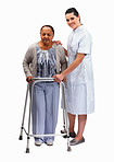 Nurse helping an old woman with a walker