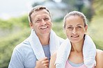 Relaxed man and woman after a gym workout