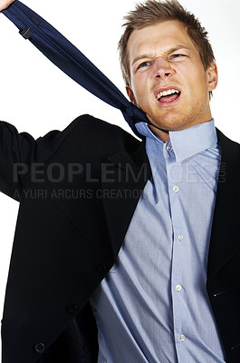 Buy stock photo Image of a worried businessman
