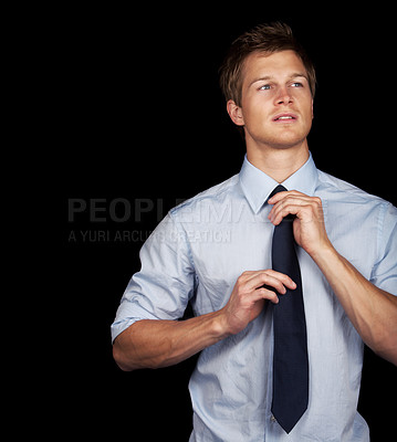 Buy stock photo Satisfied smiling businessman A trendy european businessman with a blue tie and blue shirt.