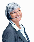 Happy elderly business woman with a headset on white